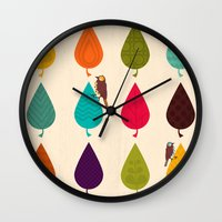leaves Wall Clocks featuring Leaves by Kakel