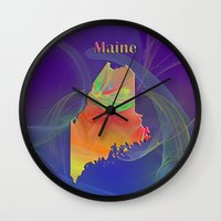 maine Wall Clocks featuring Maine Map by Roger Wedegis