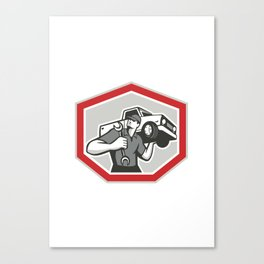 Automotive Mechanic Carrying Pick-Up Truck Canvas Print