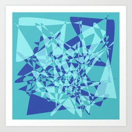Broken mirror 3 - Cool Blue Geometric Abstract Art Print