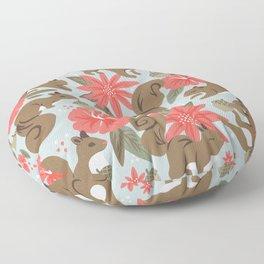 Squirrels & Blooms – Russet & Coral Floor Pillow