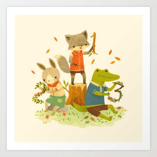 Counting with Barefoot Critters Art Print