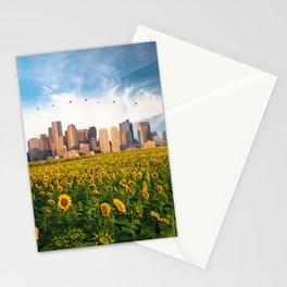 Boston Massachusetts Skyline and Sunflower Field Stationery Cards
