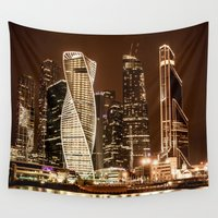 moscow Wall Tapestries featuring Moscow city by Vlad&Lyubov