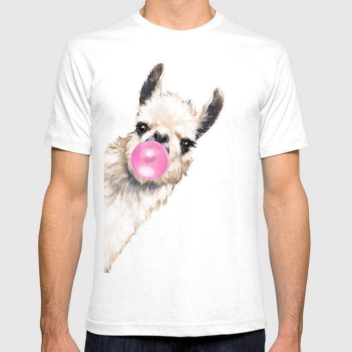 Bubble Gum Sneaky Llama in Green T-Shirt