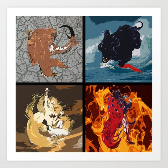 The Elemental Fiends Art Print