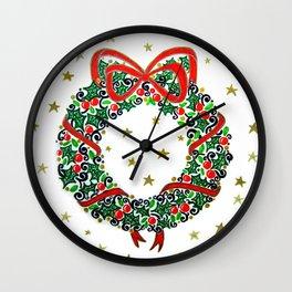 Christmas Wreath II Wall Clock