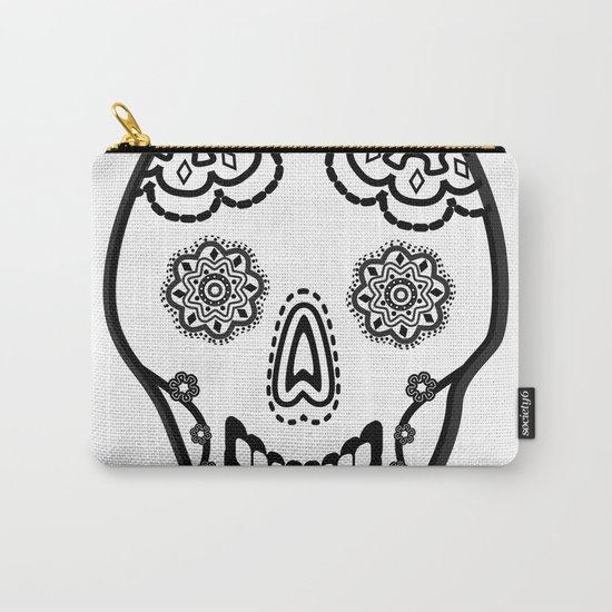 Black and White Sugar Skull (Calavera) Carry-All Pouch