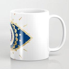 evil eye times 3 navy on white Coffee Mug