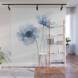 Blue Watercolor Poppies Wall Mural