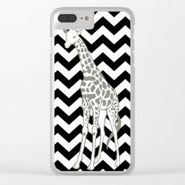 Black Safari Chevron with Pop Art Giraffe Clear iPhone Case