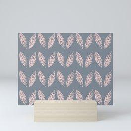 Tropical foliage Grey Pink #tropical #leaves #homedecor Mini Art Print