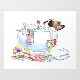French Bulldog in the Tub Art Print