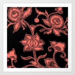 Vintage Floral Peach Echo and Black Art Print