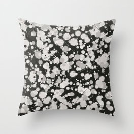 Black White and Cream Spotted Abstract Bubble Splash Throw Pillow