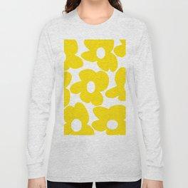 Large Yellow Retro Flowers on White Background #decor #society6 #buyart Long Sleeve T-shirt