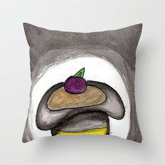 A Single Plum, Floating in Perfume, Served in a Man's Hat Throw Pillow
