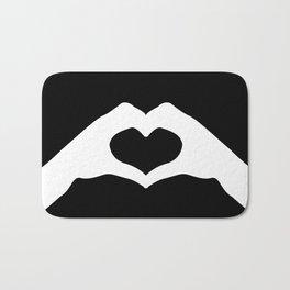 Hands making a heart shape- portraying love Bath Mat