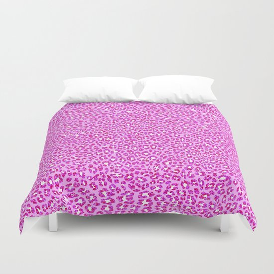Light Pink Glitter Cheetah Print Duvet Cover