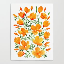 Watercolor California poppies Poster