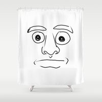 plain Shower Curtains featuring plain face by JESUS MOSES