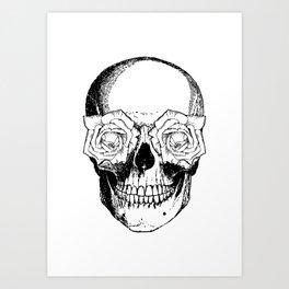 Skull and Roses   Black and White Art Print
