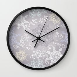 Silver Winter Wall Clock