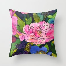 French Lavender & Roses Throw Pillow