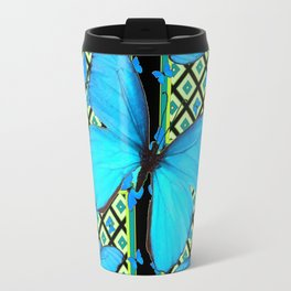 Ornate Black & Blue Azure Nouveau Butterfly Designs Travel Mug