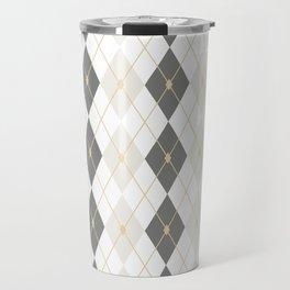 Light Gold & Gray Rhombus Travel Mug