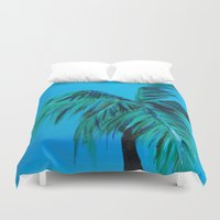 oasis Duvet Covers featuring Palm Oasis by Solveig Noll