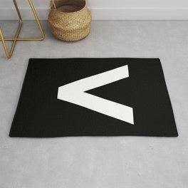 Less-Than Sign (White & Black) Rug