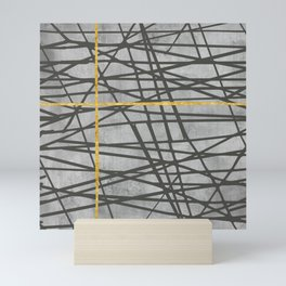 Black abstract black and gold lines on concrete - Mix & Match with Simplicty of life Mini Art Print