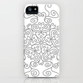 Gray Line Swirl Mandala iPhone Case