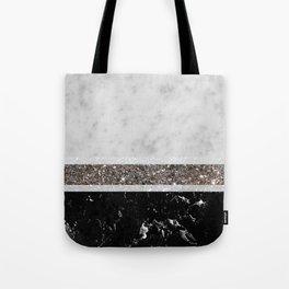 White and Black Marble Silver Glitter Stripe Glam #1 #minimal #decor #art #society6 Tote Bag