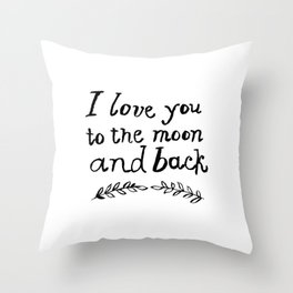 To the Moon and Back- White Throw Pillow