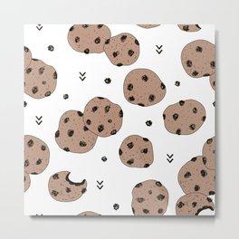 Chocolate chip cookie jar illustration pattern Metal Print