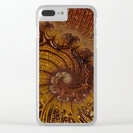 copper caramel swirls abstract art Clear iPhone Case