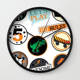 Kids Awesome Lets Play Cool Kid No Rules Hi 5 Ice Cream print Wall Clock