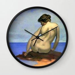 """Félix Vallotton """"Femme assise sur un rocher (Woman sitting on a rock)"""" Wall Clock"""