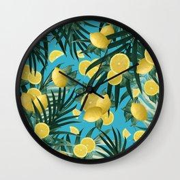 Summer Lemon Twist Jungle #4 #tropical #decor #art #society6 Wall Clock