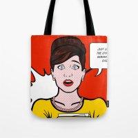 lichtenstein Tote Bags featuring Cheryl Carol Charlene Lichtenstein by turantuluy