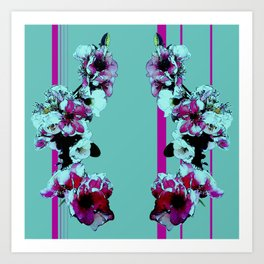 Hana Collection - Graphic Hot Pink and Teal Sakura Cherry Blossoms Art Print