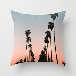 California Sunset // Palm Tree Silhouette Street View Orange and Blue Color Sky Beach Photography Throw Pillow