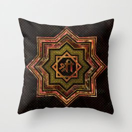 Red Gemstone and gold  Star of Lakshmi -  and Sri Throw Pillow