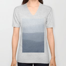 Tranquil Modern Gray Gradation To White Unisex V-Neck