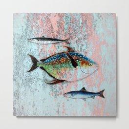Into the Deep, Ocean Swimming Fish Metal Print