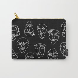 Single Line Face Design - lBlack Version Carry-All Pouch