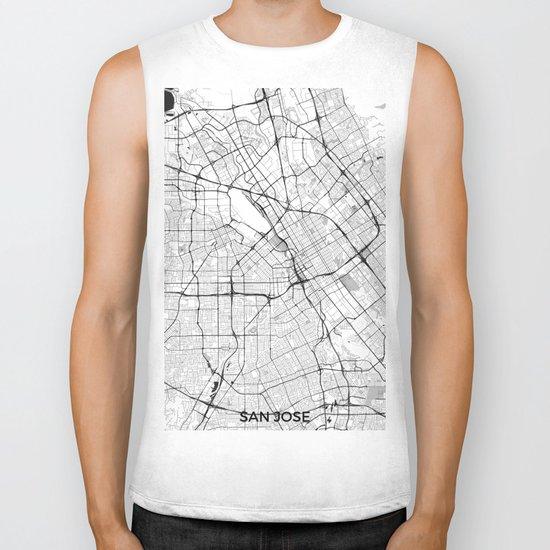 San Jose Map Gray Biker Tank