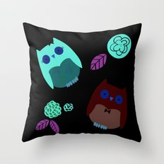 Owls with flowers Throw Pillow